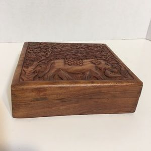 Hand carved Wooden Elephant Jewelry Box!